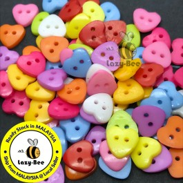 WB149: 100 pieces 12mm/ 14mm/ 16mm  Heart Acrylic Button DIY Plastic Craft Garment Accessory Butang Sewingewing  [ C16 ]