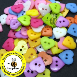 WB151: 100 pieces 16mm Heart Acrylic Button DIY Plastic Craft Garment Accessory Butang Sewing  [ A12 ]
