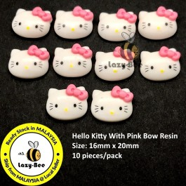 SA858: 10 pieces 20mm Cute Kawaii Hello Kitty With Pink Bow Resin Cabochons DIY Baby Kids Brooch Craft Scrapbook Keychain Hair accessory [ P2 ]