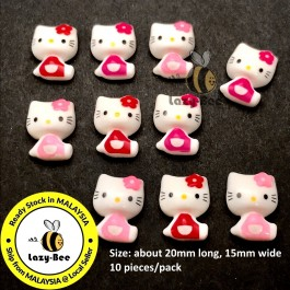 SA855: 10 pieces 20x15mm Hello Kitty Resin Cabochons DIY Kids Craft Baby Brooch hair Accessory