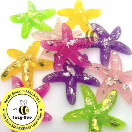 SA852: 10 pieces 38x40mm Starfish Resin Cabochons with Shell Chip DIY Craft scrapbook [ C6 ]