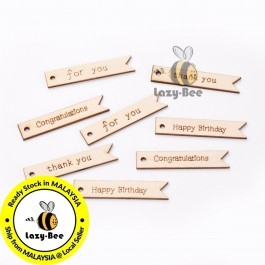 WB139: 10 pieces 63x12.5mm Rectangle with Word Wood Big Pendants DIY craft Scrapbook Card Making [ B14 ]