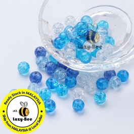Carribean Blue Mix 100 pcs 8mm Baking Painted Crackle Glass Beads Manik DIY Jewelry Finding Craft Making Jahitan Sulaman