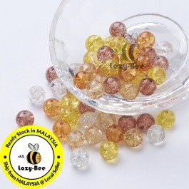 Caramel Mix 100 pcs 8mm Baking Painted Crackle Glass Beads Manik DIY Jewelry Finding Craft Making Jahitan Sulaiman