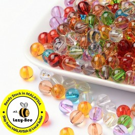 BC132: About 170pcs/48g 8mm Transparent Acrylic Beads DIY Jewelry Making [ C8 ]