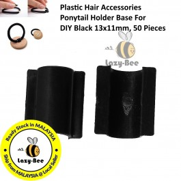 B44316: 50 Pcs 13x11mm Plastic Hair Accessories Ponytail Holder Base For DIY Black