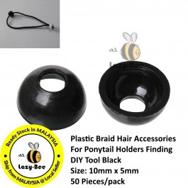 B44331: 50 pcs 10x5mm Plastic Braid Hair Accessories For Ponytail Holders Finding DIY Tool Black [ Z29 ]