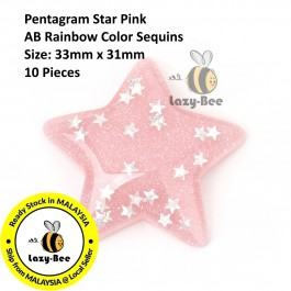 B0107634: 10 Pieces 33x31mm Pentagram Star Pink AB Rainbow Color Sequins