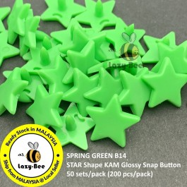 KM328: SPRING GREEN B14: 50 sets STAR Shape KAM Glossy Snap Button Fastener DIY Clothing Button [ L12 ]