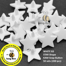KM331: WHITE B3: 50 sets STAR Shape KAM Glossy Snap Button Plastic Snap Button Fastener DIY Clothing Button [ L12 ]