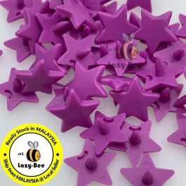 KM332: BRIGHT PURPLE B56: 50 sets STAR Shape KAM Glossy Snap Button Plastic Snap Button Fastener DIY Clothing Button [ L11 ]