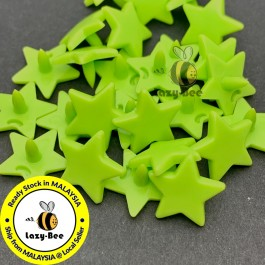 KM338: APPLE GREEN B44: 50 sets STAR Shape KAM Glossy Snap Button Plastic Snap Button Fastener DIY Clothing Button [ L11 ]
