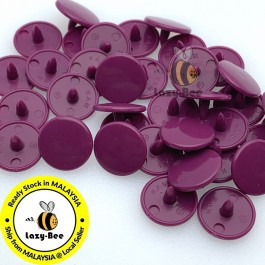 KM342: PLUM PURPLE B34: 50 sets T3 (10.3mm dia.) KAM Glossy Snap Button Plastic Snap Button Fastener DIY Clothing Button [ L12 ]