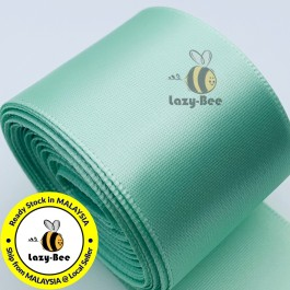 A513-38 Pastel Green: 5 meter 38mm SINGLE Faced Satin Ribbon