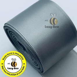 A009-38 Lt Silver: 5 meter 38mm SINGLE Faced Satin Ribbon