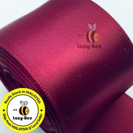 A275-38 Wine: 5 meter 38mm SINGLE Faced Satin Ribbon