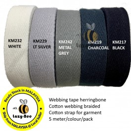 20MM Colorful tape herringbone cotton webbing strap for garment Twill Tape Sew Strap Tali Balut