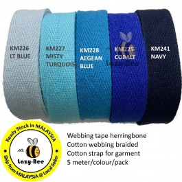 BLUE SERIES 20MM Colorful tape herringbone cotton webbing strap for garment Twill Tape Sew Strap Tali Balut