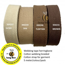 BROWN SERIES Colorful tape herringbone cotton webbing strap for garment Twill Tape Sew Strap Tali Balut