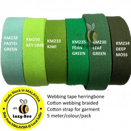 GREEN SERIES 20MM Colorful tape herringbone cotton webbing strap for garment Twill Tape Sew Strap Tali Balut
