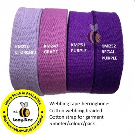 PURPLE SERIES 20MM Colorful tape herringbone cotton webbing strap for garment Twill Tape Sew Strap Tali Balut