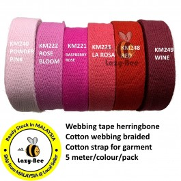 RED SERIES 20MM Colorful tape herringbone cotton webbing strap for garment Twill Tape Sew Strap Tali Balut