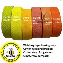 YELLOW 20MM Colorful tape herringbone cotton webbing strap for garment Twill Tape Sew Strap Tali Balut