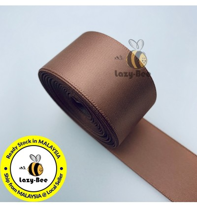 S779 PECAN BROWN: 5 meter Double Faced Satin Ribbon Wedding DIY Craft Bow knot Perkahwinan Borong Balut Reben