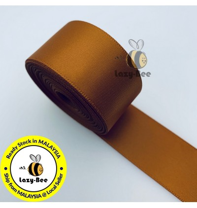 S785 COPPER: 5 meter Double Faced Satin Ribbon Wedding DIY Craft Bow knot Perkahwinan Borong Balut Reben