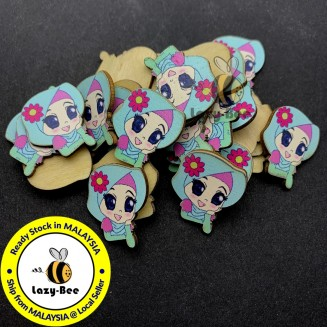 WB156: 20 pcs 25x22mm Muslimah Wood Emblishment Design B Cute Kawaii DIY Craft Kids Key Chain Key Ring
