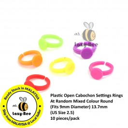 B0200305: 10 pcs (Fits 9mm Diameter) 13.7mm (US Size 2.5) Plastic Open Cabochon Settings Rings Random Mix Round DIY Kid Ring [A4]