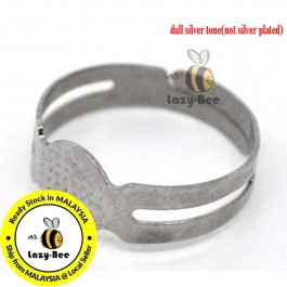 B14823: 50 pcs (Fits 8mm Dia.) 16.7mm (US Size 6.25) Iron Based Alloy Adjustable Glue On Rings Round Silver Tone DIY Ring Jewelry Making [C4]