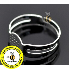 B15069: 50 pcs (Fits 8mm Dia) 17.5mm (US Size 7) Iron Based Alloy Adjustable Glue On Rings Round Silver Plated DIY Jewelry Making Ring [B17]