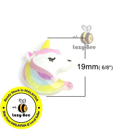 B0210695: 20 pcs 19x17mm Unicorn Resin Dome Seals Cabochon Horse Animal DIY Brooch Craft Jewelry Making Accessory [A9]
