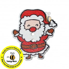 B70054: 50 pcs 33x29mm Wood Sewing Buttons Scrapbooking 2 Holes Christmas Santa Claus DIY Craft Kid [C8]