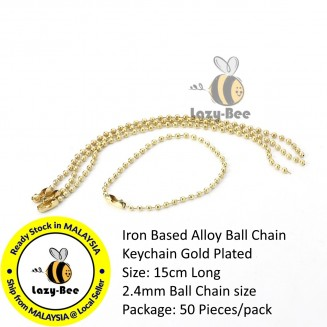 B0114150: 50 Pieces 15mm Long Gold Plated Iron Based Alloy Ball Chain Key chain Ring for Tag DIY Craft [ B8 ]
