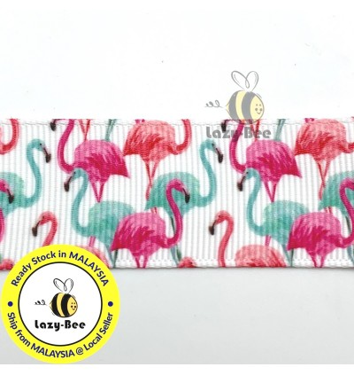 RB406: 5 meter 25 mm Flamingos Printed Grosgrain Ribbon DIY Headwear Wrapping Wedding cetak hadiah riben hadiah pembungkusan