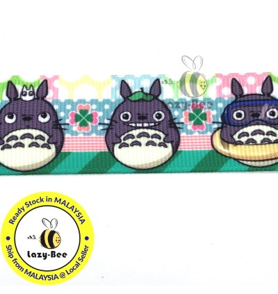 RB409: TOTORO Japanese Animation Cartoon 25mm 5 Meter  Printed Grosgrain Ribbon DIY Headwear Wrapping Wedding cetak hadiah riben hadiah pembungkusan