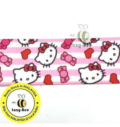RB410: Kitty PinK Stripe 25mm 5 Meter Printed Grosgrain Ribbon DIY Headwear Wrapping Wedding cetak hadiah riben hadiah pembungkusan