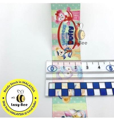 RB429: Journess & Duffy 25mm 5 Meter Printed Grosgrain Ribbon DIY Headwear Wrapping Wedding cetak hadiah riben hadiah pembungkusan