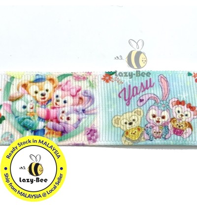 RB430: Duffy and Friends 25mm 5 Meter Printed Grosgrain Ribbon DIY Headwear Wrapping Wedding cetak hadiah riben hadiah pembungkusan
