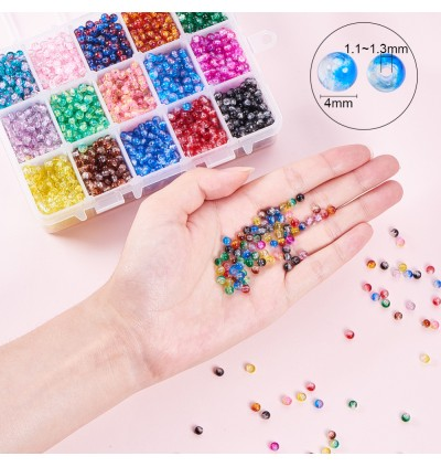 BC136: 3450pcs / box Spray Painted Crackle Glass Beads Round DIY Jewelry Making