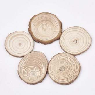 10 pcs Wood Slice Tree Ring Wood Log Slices DIY Crafts Nature Pine Ornaments Pine Chip Small Wood Chip Painting Material