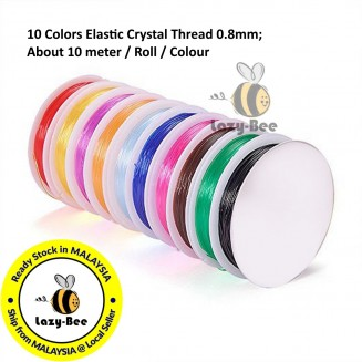 BC150: about 10 meter/roll 0.8mm; Mixed Color Elastic Crystal Thread Stretchable Elastic String Cord for Gemstones Beads Floss Elastic for Loose Beads 珠子弹力绳线 Rubber Cord Thread