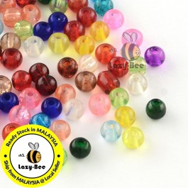 BC137: About 100 pieces 4 mm / 6 mm Round Transparent Crackle Glass Beads DIY Jewelry Making Necklace Bracelet