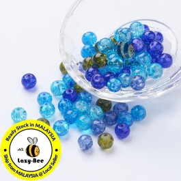 Ocean Mix Baking Painted Crackle Glass Beads 4mm / 8mm Manik DIY Jewelry Finding Craft Making Jahitan Sulaman