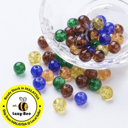 Halloween Mix 100 pcs 8mm Baking Painted Crackle Glass Beads Manik DIY Jewelry Finding Craft Making Jahitan Sulaman