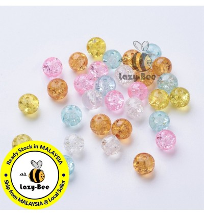 Barely Pink Mix 100 pcs 8mm Baking Painted Crackle Glass Beads Manik DIY Jewelry Finding Craft Making Jahitan Sulaman