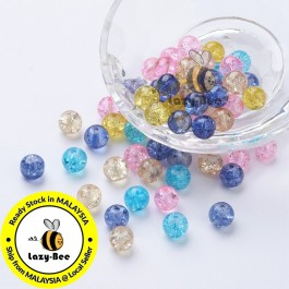 Pastel Mix 100 pcs 8mm Baking Painted Crackle Glass Beads Manik DIY Jewelry Finding Craft Making Jahitan Sulaman