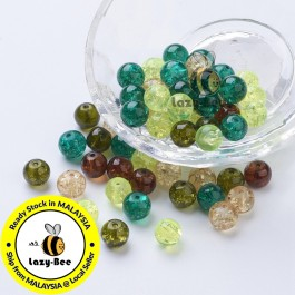 Choc-Mint Mix 100 pcs 8mm Baking Painted Crackle Glass Beads Manik DIY Jewelry Finding Craft Making Jahitan Sulaman